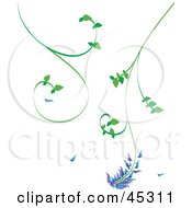 Green Tendriled Vine With A Purple And Blue Flower