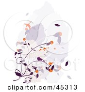 Purple And Orange Floral Grunge Background With A Dragonfly