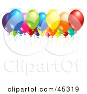 Royalty Free RF Clipart Illustration Of Colorful Helium Filled Party Balloons Floating Up Against A Ceiling by Oligo #COLLC45319-0124