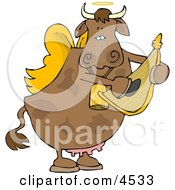 Poster, Art Print Of Cupid Angel Cow Playing A Small Harp
