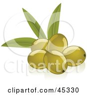 Royalty Free RF Clipart Illustration Of A Group Of Fresh And Shiny Green Olives by Oligo