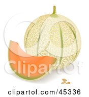 Wedge Of Tuscan Cantalope By A Whole Melon