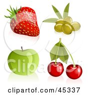 Royalty Free RF Clipart Illustration Of A Fresh And Shiny Digital Collage Of Shiny And Fresh Strawberries Cherries Apples And Green Olives
