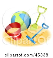 Royalty Free RF Clipart Illustration Of A Beach Ball With Sand Toys On A Beach