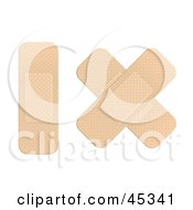 Royalty Free RF Clipart Illustration Of A Single Bandage Strip And A Band Aid Cross