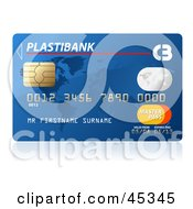 Royalty Free RF Clipart Illustration Of A Blue Plastibank Credit Card