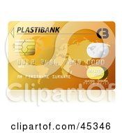 Royalty Free RF Clipart Illustration Of A Golden Plastibank Credit Card