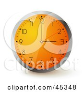 Royalty Free RF Clipart Illustration Of An Orange Wall Clock With The Time Displaying 3 by Oligo