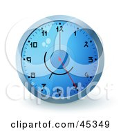 Royalty Free RF Clipart Illustration Of A Blue Wall Clock With The Time Displaying 5 by Oligo
