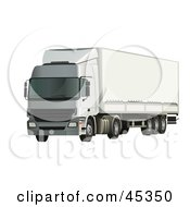 Royalty Free RF Clipart Illustration Of A Parked White Big Rig Truck
