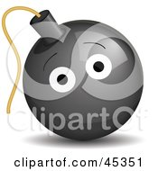 Royalty Free RF Clipart Illustration Of A Happy Black Bomb by Oligo