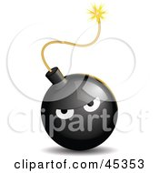 Royalty Free RF Clipart Illustration Of A Bad Tempered Black Bomb With A Lit Fuse by Oligo
