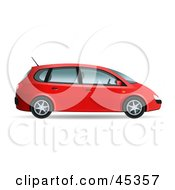 Royalty Free RF Clipart Illustration Of A Red Compact Mini Van by Oligo