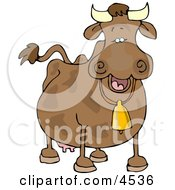 Cow Wearing A Bell Clipart by Dennis Cox