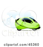 Royalty Free RF Clipart Illustration Of White Butterflies Following A Bubbling Green Hydrogen Car In The Clouds