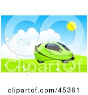 Royalty Free RF Clipart Illustration Of White Butterflies Following A Futuristic Green Hydro Car Driving Through A Meadow