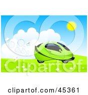 White Butterflies Following A Futuristic Green Hydro Car Driving Through A Meadow