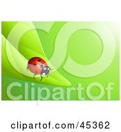 Royalty Free RF Clipart Illustration Of A Bright Red Ladybug Crawling To The End Of A Green Leaf