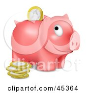 Royalty Free RF Clipart Illustration Of A Grinning Pink Piggy Bank With Euros Being Inserted Through The Opening by Oligo