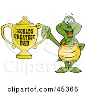 Royalty Free RF Clipart Illustration Of A Turtle Character Holding A Golden Worlds Greatest Dad Trophy