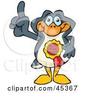 Royalty Free RF Clipart Illustration Of A Penguin Character Wearing A Best Dad Ever Ribbon by Dennis Holmes Designs