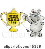Royalty Free RF Clipart Illustration Of A Rhino Character Holding A Golden Worlds Greatest Dad Trophy