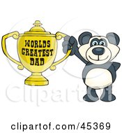 Panda Bear Character Holding A Golden Worlds Greatest Dad Trophy