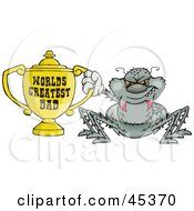 Royalty Free RF Clipart Illustration Of A Gray Spider Character Holding A Golden Worlds Greatest Dad Trophy
