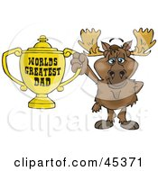 Moose Character Holding A Golden Worlds Greatest Dad Trophy
