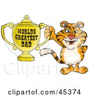 Royalty Free RF Clipart Illustration Of A Tiger Wildcat Character Holding A Golden Worlds Greatest Dad Trophy by Dennis Holmes Designs