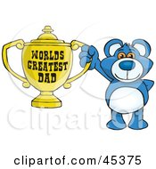 Royalty Free RF Clipart Illustration Of A Blue Teddy Bear Character Holding A Golden Worlds Greatest Dad Trophy