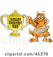 Royalty Free RF Clipart Illustration Of A T Rex Dino Character Holding A Golden Worlds Greatest Dad Trophy