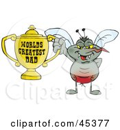 Mozzie Mosquito Character Holding A Golden Worlds Greatest Dad Trophy