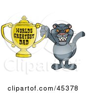Royalty Free RF Clipart Illustration Of A Panther Wildcat Character Holding A Golden Worlds Greatest Dad Trophy