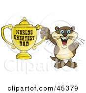 Royalty Free RF Clipart Illustration Of An Otter Character Holding A Golden Worlds Greatest Dad Trophy