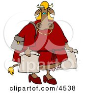 Female Cow On A Shopping Spree Clipart