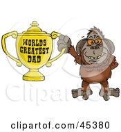 Orangutan Character Holding A Golden Worlds Greatest Dad Trophy