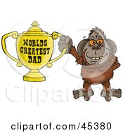 Royalty Free RF Clipart Illustration Of An Orangutan Character Holding A Golden Worlds Greatest Dad Trophy