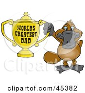 Royalty Free RF Clipart Illustration Of A Platypus Character Holding A Golden Worlds Greatest Dad Trophy