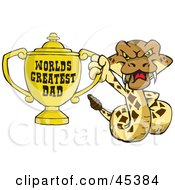 Royalty Free RF Clipart Illustration Of A Rattlesnake Character Holding A Golden Worlds Greatest Dad Trophy by Dennis Holmes Designs