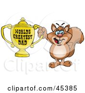Royalty Free RF Clipart Illustration Of A Squirrel Character Holding A Golden Worlds Greatest Dad Trophy