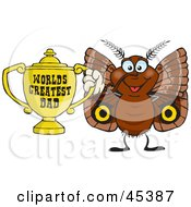 Royalty Free RF Clipart Illustration Of A Brown Moth Character Holding A Golden Worlds Greatest Dad Trophy by Dennis Holmes Designs