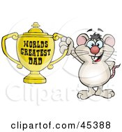 Royalty Free RF Clipart Illustration Of A Mouse Character Holding A Golden Worlds Greatest Dad Trophy