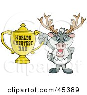Royalty Free RF Clipart Illustration Of A Reindeer Character Holding A Golden Worlds Greatest Dad Trophy
