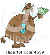 Hot Cow Drinking Water And Using A Foldable Fan Clipart by djart