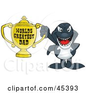 Royalty Free RF Clipart Illustration Of An Orca Whale Character Holding A Golden Worlds Greatest Dad Trophy