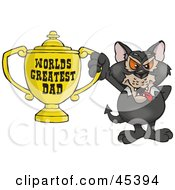 Royalty Free RF Clipart Illustration Of A Tazmanian Devil Character Holding A Golden Worlds Greatest Dad Trophy