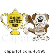 Royalty Free RF Clipart Illustration Of A St Bernard Dog Character Holding A Golden Worlds Greatest Dad Trophy