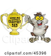 Royalty Free RF Clipart Illustration Of An Owl Character Holding A Golden Worlds Greatest Dad Trophy by Dennis Holmes Designs