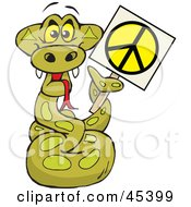 Royalty Free RF Clipart Illustration Of A Peaceful Python Snake Character Holding A Peace Sign With His Tail
